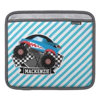 鮫のモンスタートラック; チェック模様の旗; 青い縞 iPadスリーブ