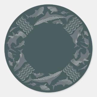 鮫のライフセーバーを救って下さい ラウンドシール