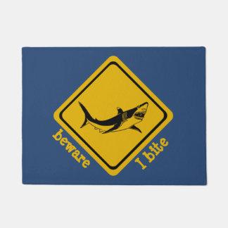 鮫の交通標識-玄関マット ドアマット