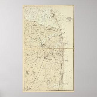 鮫の川の海岸の図表の地図へのサンディのホック ポスター
