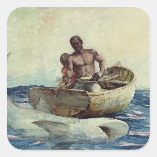鮫の魚釣り1885年 スクエアシール