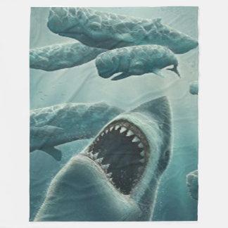 鮫及びクジラのフリースブランケット フリースブランケット