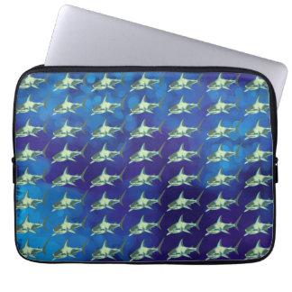 鮫、パターン青 ラップトップスリーブ