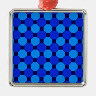 鮮やかでクールな青は六角形のタイルパターンを平方します メタルオーナメント