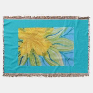 鮮やかで抽象的な水彩画の黄色の花 スローブランケット