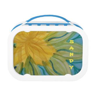 鮮やかで抽象的な水彩画の黄色の花 ランチボックス