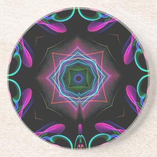 鮮やかで明るくカラフルなネオンの抽象芸術 コースター