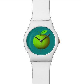 鮮やかで白いターコイズの緑のAppleのシンプルのカッコいい 腕時計