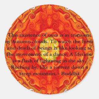 鮮やかで精神的なデザインの仏教の引用文 ラウンドシール