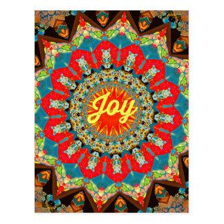 """鮮やかで赤く黄色い万華鏡のように千変万化するパターンの""""喜び""""のデザイン ポストカード"""