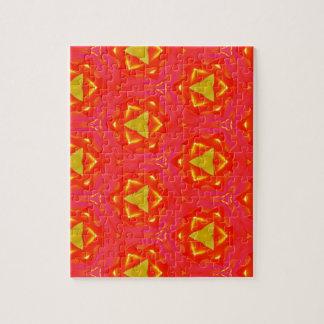 鮮やかないちごの赤く黄色い情報通のモダンなパターン ジグソーパズル