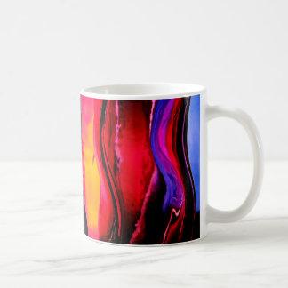 鮮やかなカーブの抽象デザイン コーヒーマグカップ