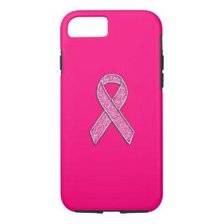 鮮やかなクロムグリッターのスタイルのピンクのリボンの認識度 iPhone 8/7ケース