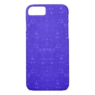 鮮やかなコバルトブルーの空想のダマスク織パターン iPhone 8/7ケース