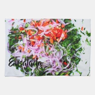 鮮やかなサラダ キッチンタオル