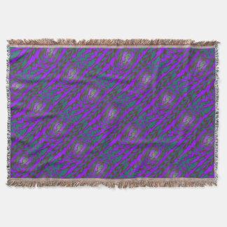 鮮やかなティール(緑がかった色)の紫色のモダンなデザイン スローブランケット