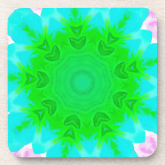 鮮やかなネオンピンクの青緑のパステルマンデラ コースター