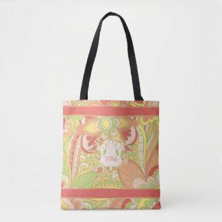 鮮やかなパステル、Boho トートバッグ