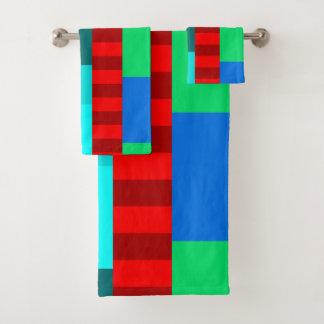 鮮やかなパッチワークの設計タオルセット バスタオルセット