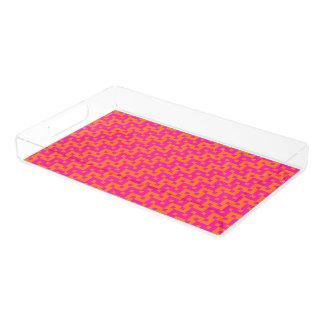 鮮やかなピンクおよびオレンジイスラム教の幾何学的なパターン アクリルトレー