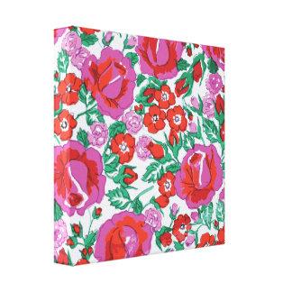 鮮やかなピンクおよび赤いスケッチされたバラ キャンバスプリント