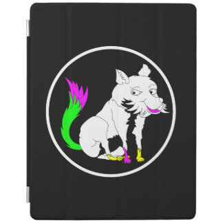 鮮やかなピンクの尾を搭載する白黒キツネ iPadスマートカバー