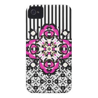鮮やかなピンク、白黒装飾的 Case-Mate iPhone 4 ケース