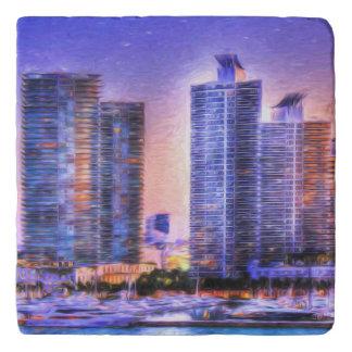 鮮やかなマイアミのスカイラインの日の出 トリベット