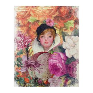 鮮やかなヴィンテージの女性の花園 アクリルウォールアート