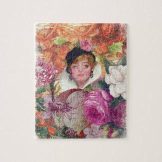 鮮やかなヴィンテージの女性の花園 パズル