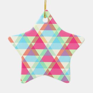 鮮やかな幾何学的-矢の三角形パターン セラミックオーナメント