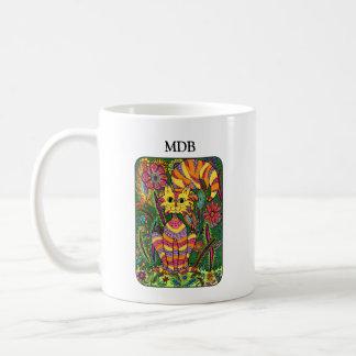 鮮やかな庭猫の緑の民芸のカスタムのモノグラム コーヒーマグカップ