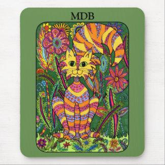 鮮やかな庭猫の緑の民芸のカスタムのモノグラム マウスパッド
