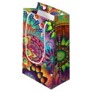 鮮やかな抽象芸術 スモールペーパーバッグ