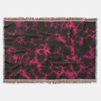 鮮やかな斑点を付けられたピンクおよび黒い炎 スローブランケット