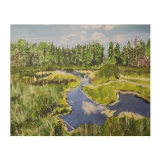 鮮やかな森林沼地 ウッドウォールアート