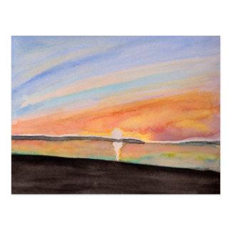 鮮やかな水彩画の日の出 ポストカード