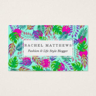 鮮やかな水彩画パターンの熱帯葉 名刺