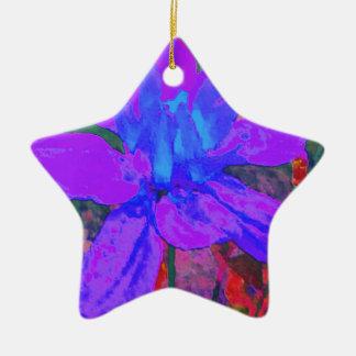 鮮やかな濃紫色の花のダリアの花模様 陶器製星型オーナメント