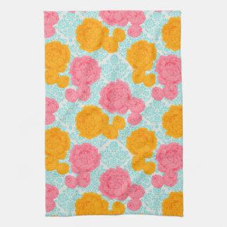 鮮やかな熱帯ヴィンテージの花のふきん キッチンタオル