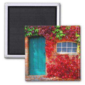 鮮やかな紅葉が付いている景色のターコイズのドア マグネット