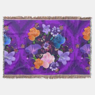 鮮やかな紫色の抽象芸術の花柄によって編まれるブランケット スローブランケット