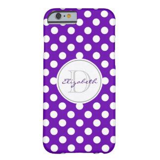 鮮やかな紫色の水玉模様のモノグラムのなiPhone6ケース Barely There iPhone 6 ケース
