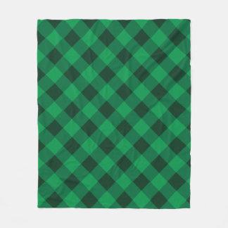 鮮やかな緑の格子縞のフリースブランケット フリースブランケット
