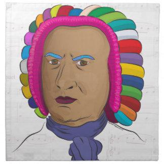 鮮やかな色のかつらのポップアートのヨハン・ゼバスティアン・バッハ ナプキンクロス