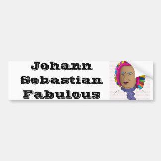 鮮やかな色のかつらのポップアートのヨハン・ゼバスティアン・バッハ バンパーステッカー