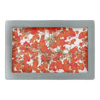 鮮やかな花のコラージュパターン 長方形ベルトバックル