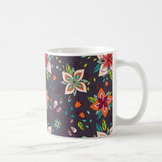 鮮やかな花柄および鳥パターン コーヒーマグカップ