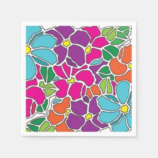 鮮やかな花柄のステンドグラス スタンダードカクテルナプキン