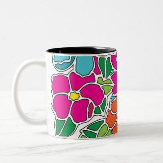 鮮やかな花柄のステンドグラス ツートーンマグカップ